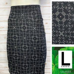 Size L Cassie pencil skirt-black/grey/white geo